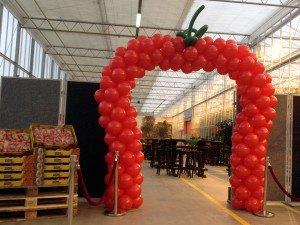 Tomaatvormige ballonnenboog